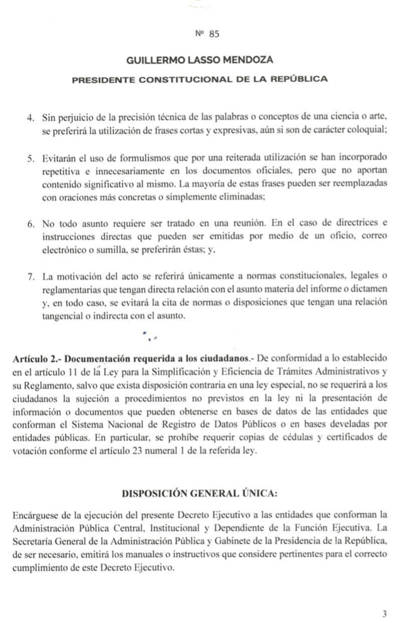 decreto ejecutivo no. 85